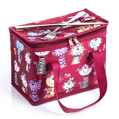 TEAMOOK Lunch Bag Insulated Lunch Box Cooler Bags 1pcs (red cat)