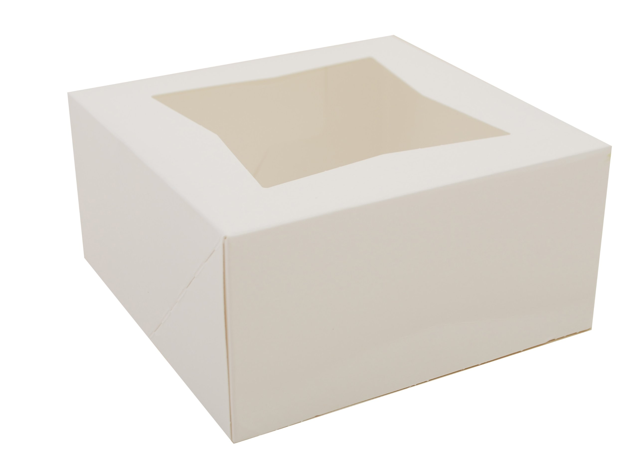 Southern Champion Tray 24023 Paperboard White Window Bakery Box, 6'' Length x 6'' Width x 3'' Height (Case of 200) by Southern Champion Tray