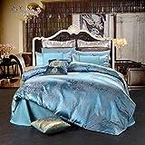 UniTendo 4 Piece Sateen Cotton European Luxury Jacquard Duvet Cover Sets,Delicate Floral Pattern Bedding Sets,Duvet Cover Flat Sheet and 2 Pillowcases,Queen, Blue