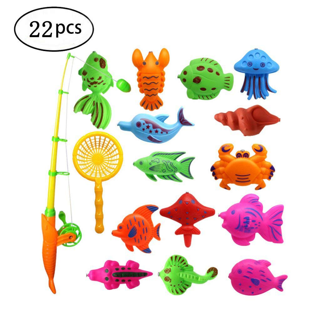 Bath Toy, 22pcs Colorful Magnetic Fishing Toy Floating Fish Toy Set Includes a Fishing Rod and a Fish Net for Boys Girls Toddlers Kids Bathtub Fun Time Debolic