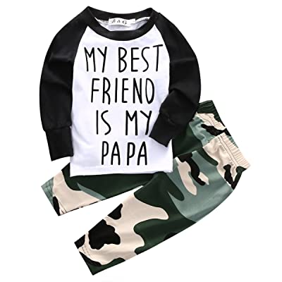 2PCS Baby Boys MY BEST FRIEND IS MY PAPA Printed Long Sleeve Tops + Camo Long Pants Outfit Set