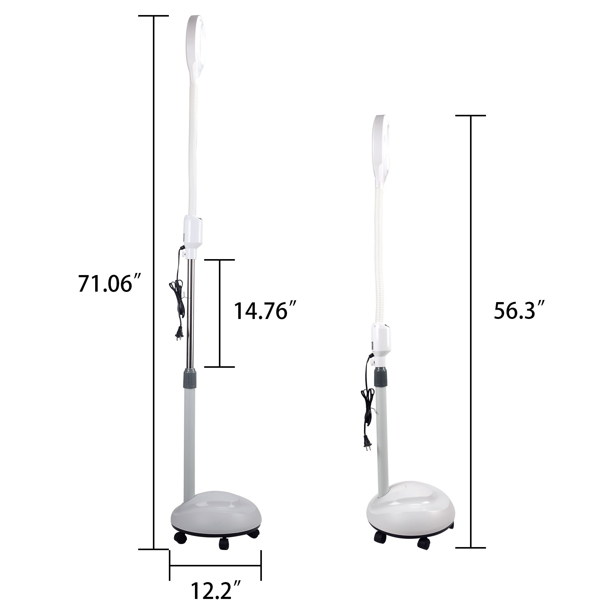 LED Magnifying Floor Lamp with Gooseneck, Adjustable Stand and Rolling Base BE12UA by H&B Luxuries (Image #2)