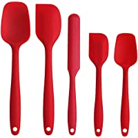 Silicone Spatula Set with Heat Resistant Pastry Tools Spatula Eco-Friendly Certified FDA & EU LFGB - Red