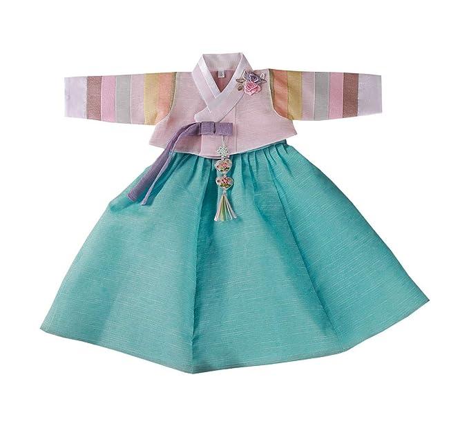 Amazon.com: Blue Hanbok - Vestido tradicional para niña de 1 ...