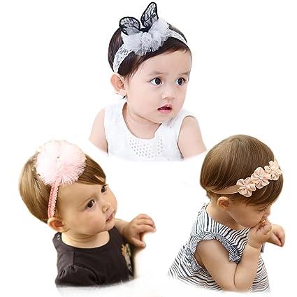 2866f1d0c2dde4 BIANHUAN ベビー ヘアバンド 赤ちゃん カチューシャ かわいい ヘアアクセサリー リボン 3点セット 赤ちゃん 髪留め