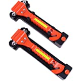 GoDeCho 2 Pack Car Safety Hammer Emergency Escape Tool with Seat Belt Cutter and Vehicle Window Glass Breaker with Light Reflective Tape