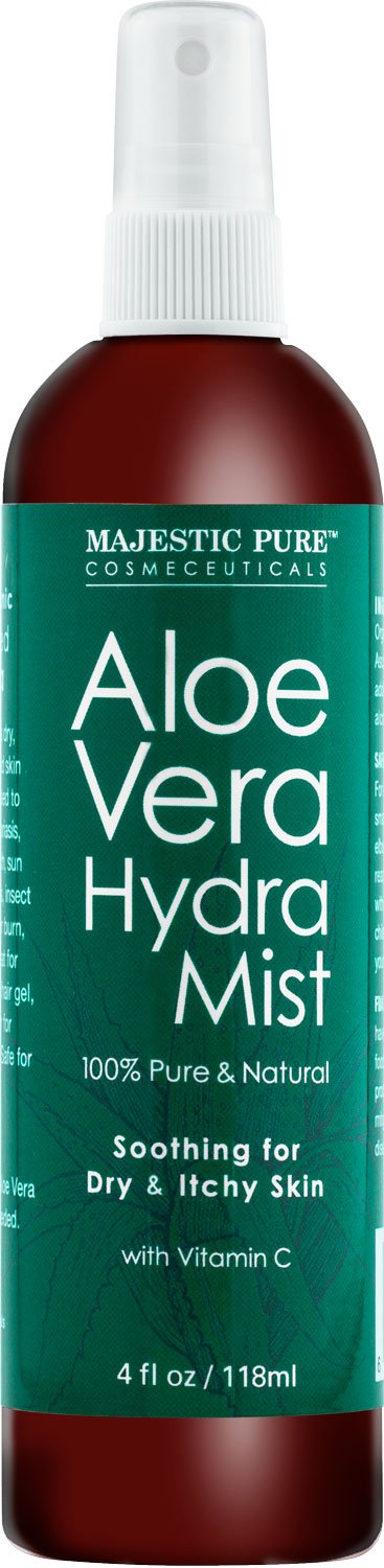 Majestic Pure Aloe Vera Hydra Mist, 100% Pure & Natural, from Organic Cold-Pressed Aloe Vera, good for Skin and/or Hair, 4 fl oz
