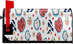 Mailbox Cover Happy Maneki Neko Cat and Geranium Florals Magnetic Mailbox Mail Wraps Post Letter Box Covers Set Standard Size Home Garden Outside Yard Outdoor Decor Large Size 25.5