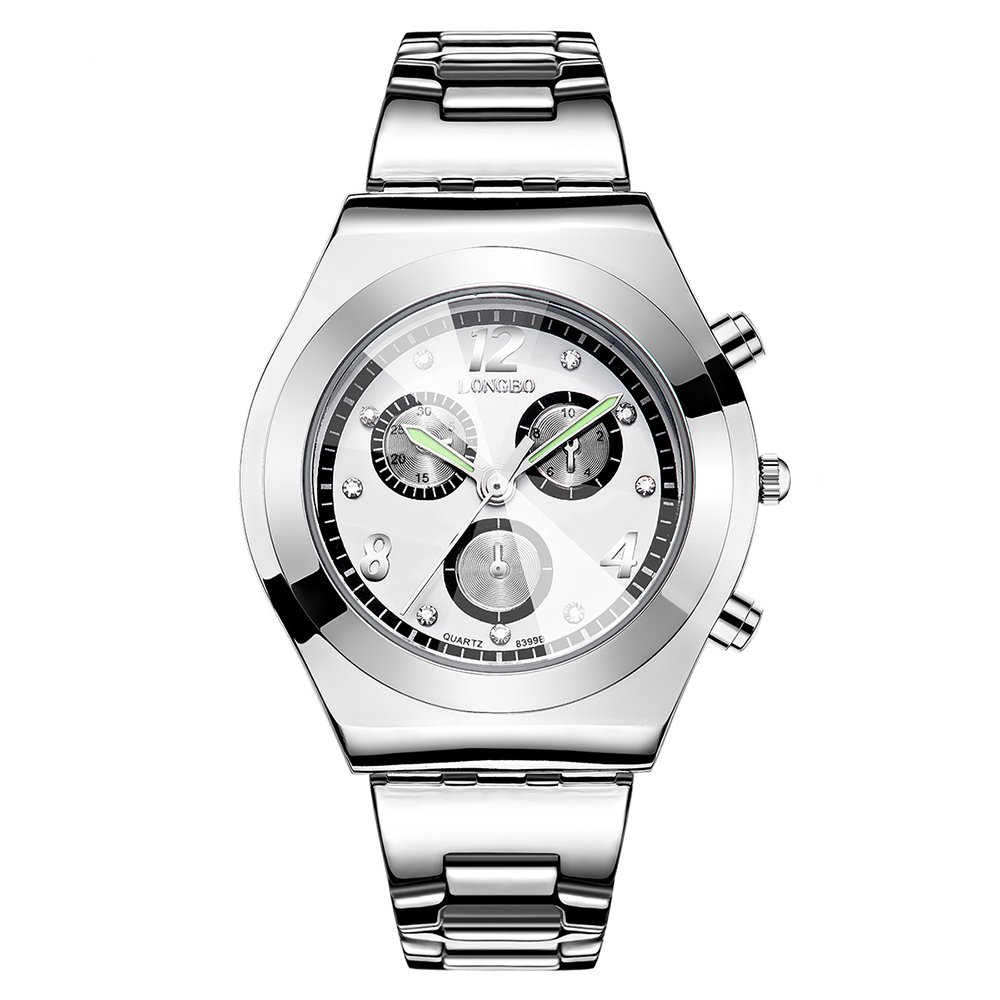 Women Steel Watch, OL Wristwatch with Luminous Needle, Convex Glass Dial, Business Female Dress Clock (Silver)