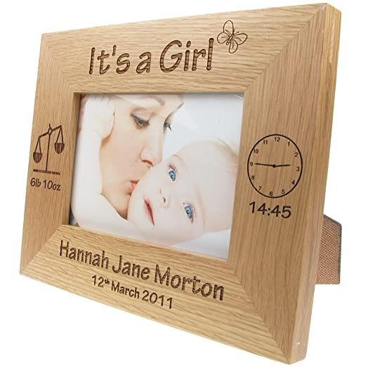 Newborn baby girl gift personalised engraved oak photo frame new newborn baby girl gift personalised engraved oak photo frame new baby photo frames negle Images