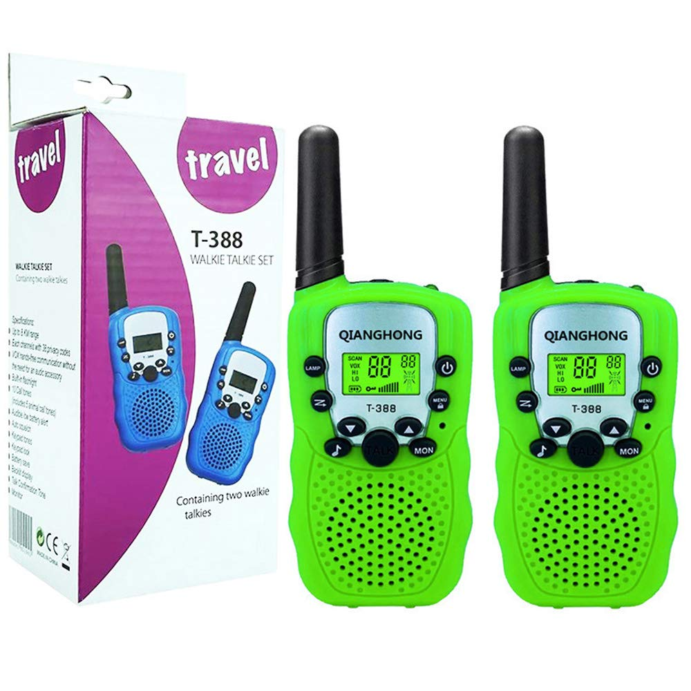 Qianghong T3 Kids Walkie Talkies 3-12 Year Old Children's Outdoor Toys Mini Two Way Radios UHF 462-467 MHz Frequency 22 Channels - 1 Pair Green by Qianghong (Image #1)