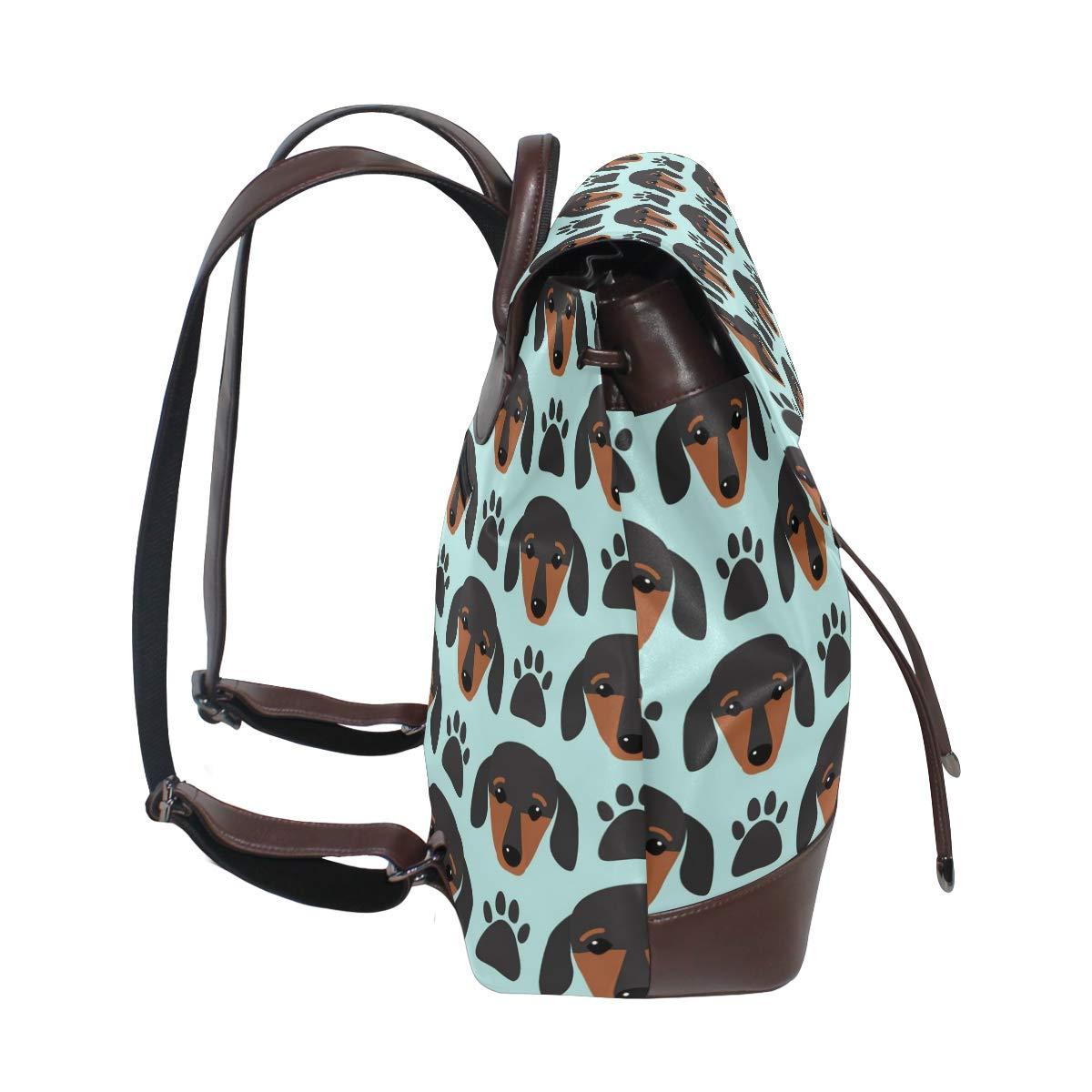 Unisex PU Leather Backpack Little Dachshund Puppy Head Print Womens Casual Daypack Mens Travel Sports Bag Boys College Bookbag