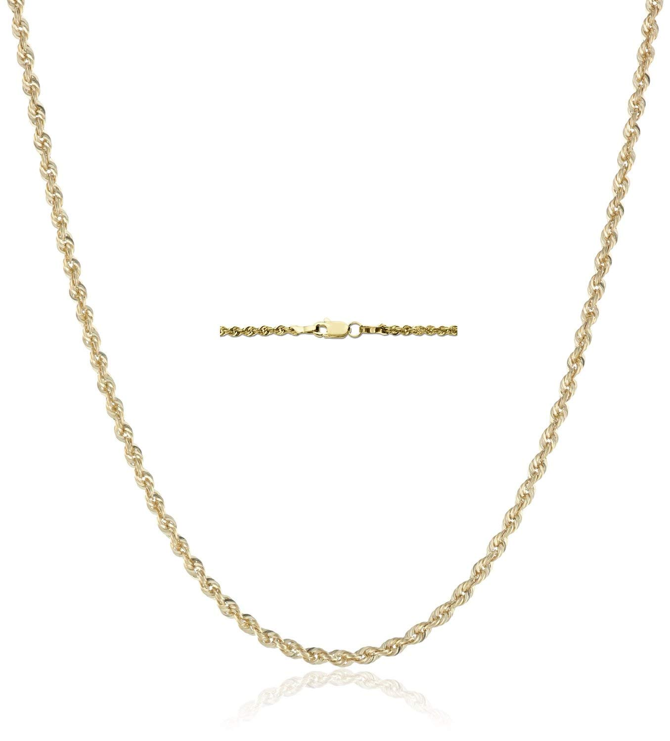 18K Gold 2.5MM Diamond Cut Rope Chain Necklace Unisex Sizes 16''-30'' - 18 Karat Gold (16)