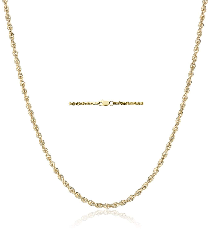 18K Gold 2.5MM Diamond Cut Rope Chain Necklace Unisex Sizes 16''-30'' - 18 Karat Gold (18)
