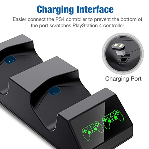 DinoFire PS4 Controller Charger, PS4 Charging Station for Controller DualShock USB Fast Charging Dock for Sony Playstation4 / PS4 Slim / PS4 Pro ...