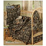 Realtree Max-4 Camo - 5 Piece Crib Set includes (Crib Fitted Sheet, Crib Bumper Pad, Crib Headboard Pad, Crib Comforter, and Crib Diaper Stacker)- Save Big By Bundling!