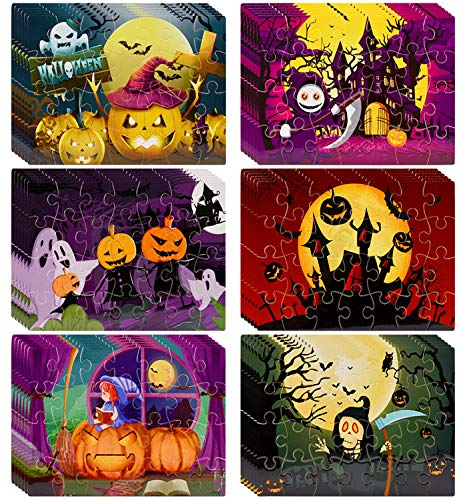 Disney Halloween Themed Food (FLY2SKY Halloween Jigsaw Puzzles Toy Set 36 Pack Halloween Themed Puzzles for Toddlers Toy Puzzles for Ages 3 to 8 Kids Halloween Party Favor Halloween Game for Kids Family School)