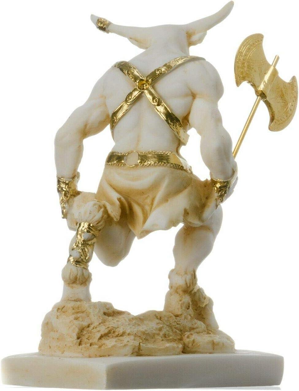 BeautifulGreekStatues Minotaur Mythologie grecque avec Labrys Statue Or Alb/âtre 5,9 cm