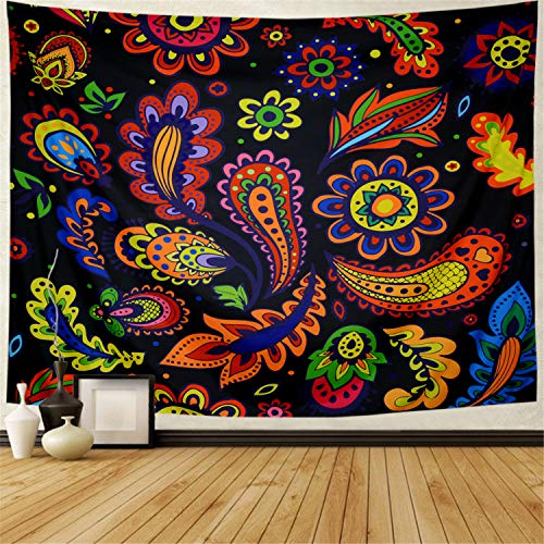 - Racunbula Flower Tapestry Watercolor Sunflower Tapestry Colorful Arabesque Tapestry Wall Hanging for Home Decoration H78.7 × W59.1Inches