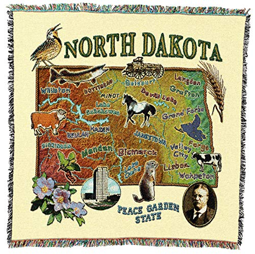 Pure Country Weavers - North Dakota State Woven Throw Blanket with Fringe Cotton. USA Size 54x54 from Pure Country Weavers