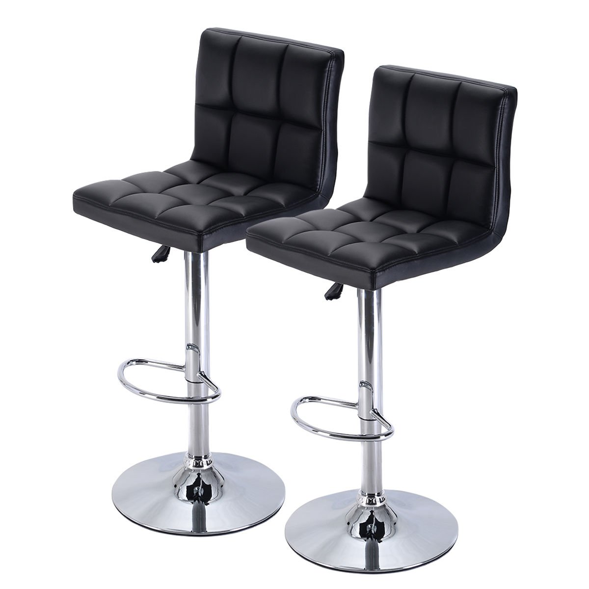 Costway Furniture Swivel PU Leather Barstools Chair Adjustable Hydraulic Counter Bar Stool, Set of 2 (Black)