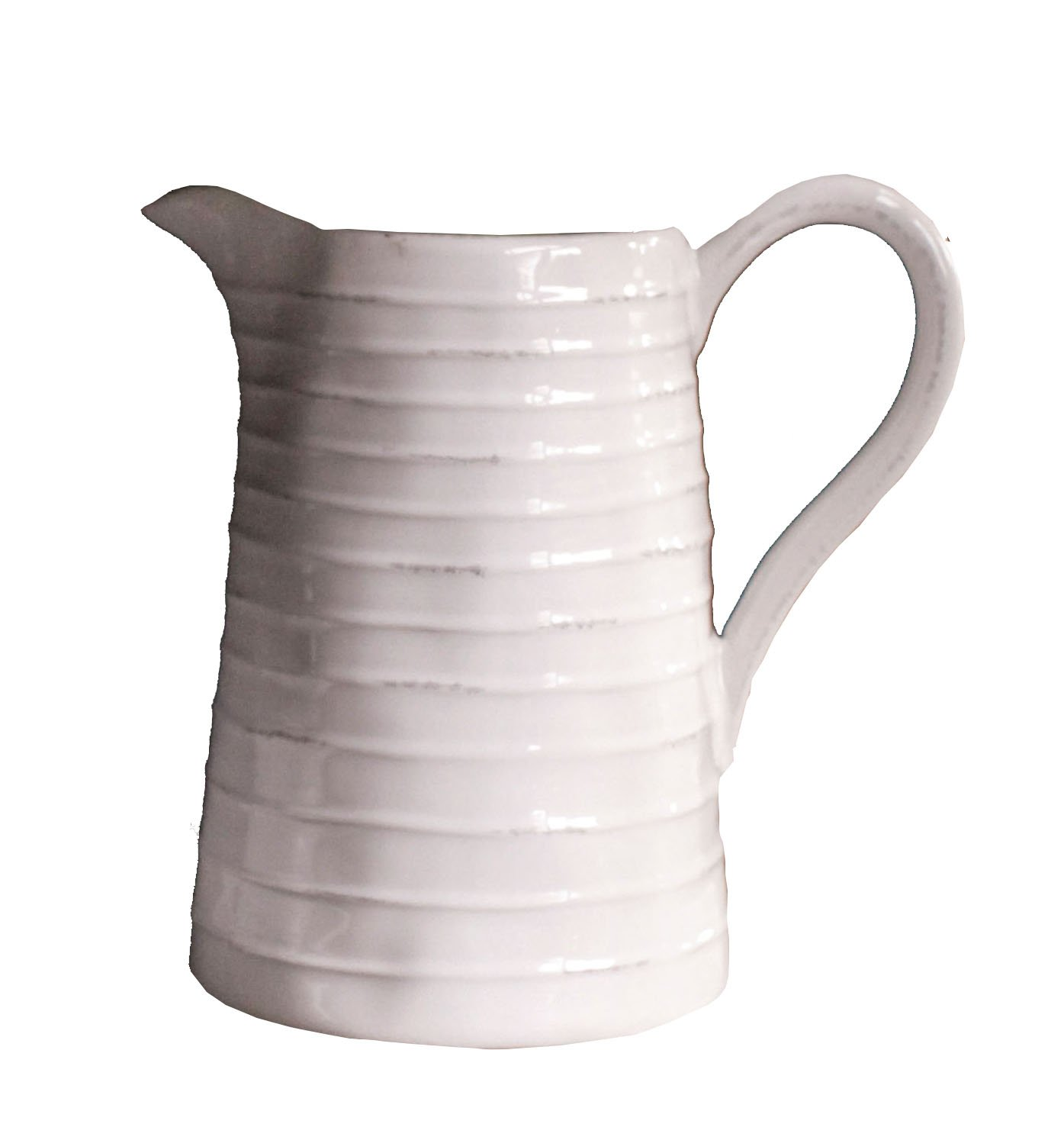 Creative Co-Op DA3081 White Ceramic Pitcher