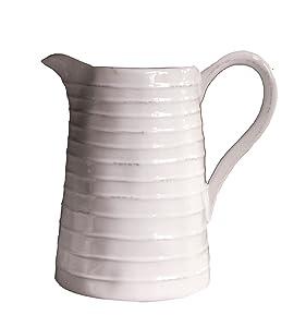 Creative Co-Op DA3081 White Ceramic Pitcher