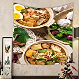 Lee S. Jones Custom tapestry hot and spicy curry noodles or laksa mee and prawn noodle with hot steam in clay pot decoration