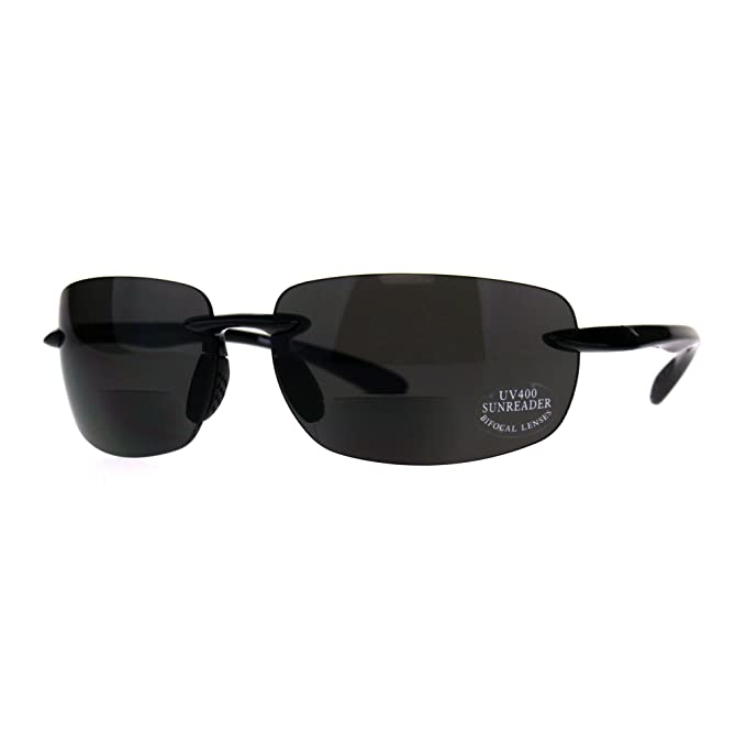 bf11f5c07ead Mens Rimless Warp Sport Sunglasses With Bifocal Reading Lenses All Black 1.0