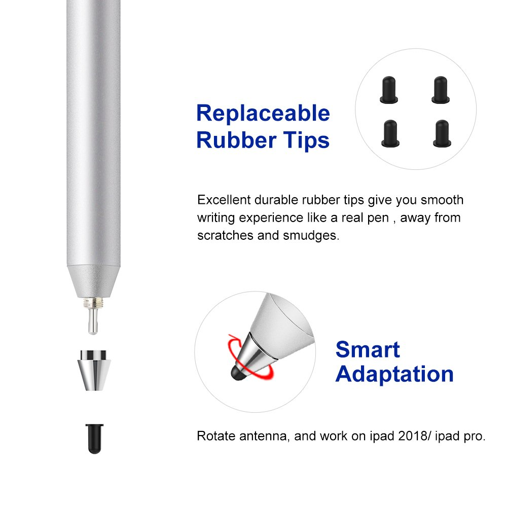 iPens X1 Active Stylus Pen, iPad Pencil Touch Pen, Capacitive Rechargeable Pen Replaceable Fine Point Rubber Tips, 4 Mins Auto Power off, for iPad/iPhone/iPad Pro/iPhone X -Silver by iPens (Image #4)