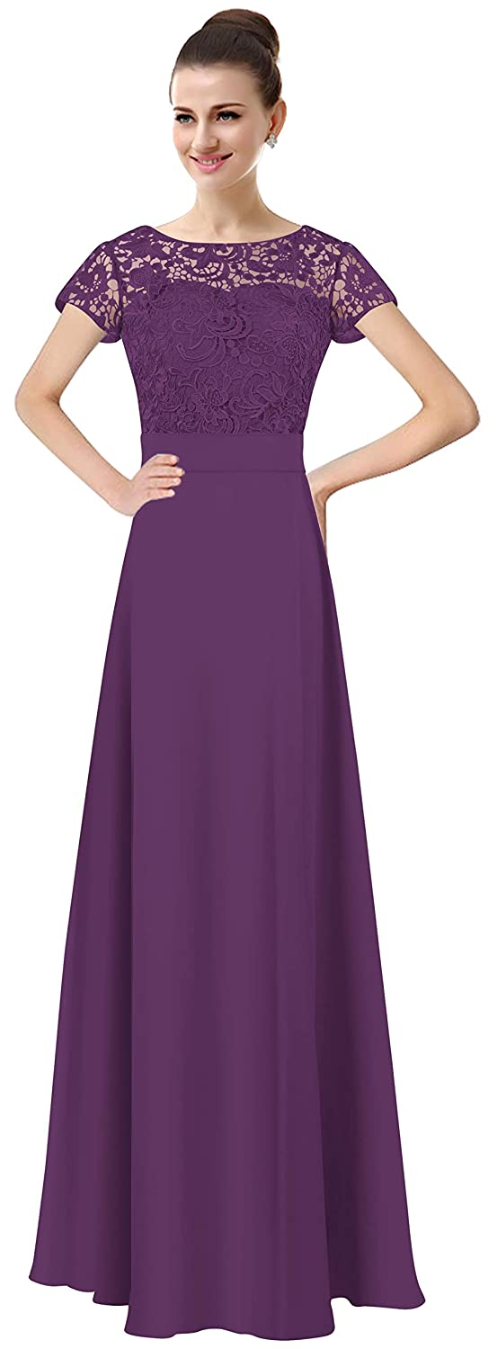 Purple Lily Anny Womens Long Lace Bridesmaid Dresses Prom Gown with Short Sleeves L061LF