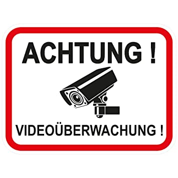1 Stuck Aufkleber Achtung Videouberwachung 120x90 Mm Selbstklebend