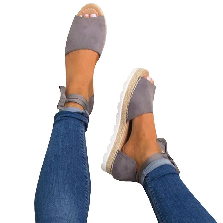 Gemijacka Damen Knouml;chel Schnalle Riemen Espadrilles Ausgeschnitten Binden Niet Klassischen Sommer Flache Sandale Schuhe  40 EU|Grau