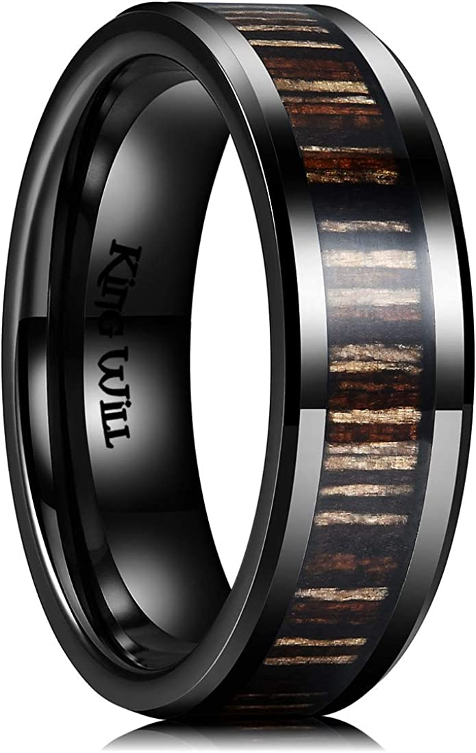 King Will Nature 7mm 8mm Wood Ceramic Ring Wedding Band Polished Finish Comfort Fit