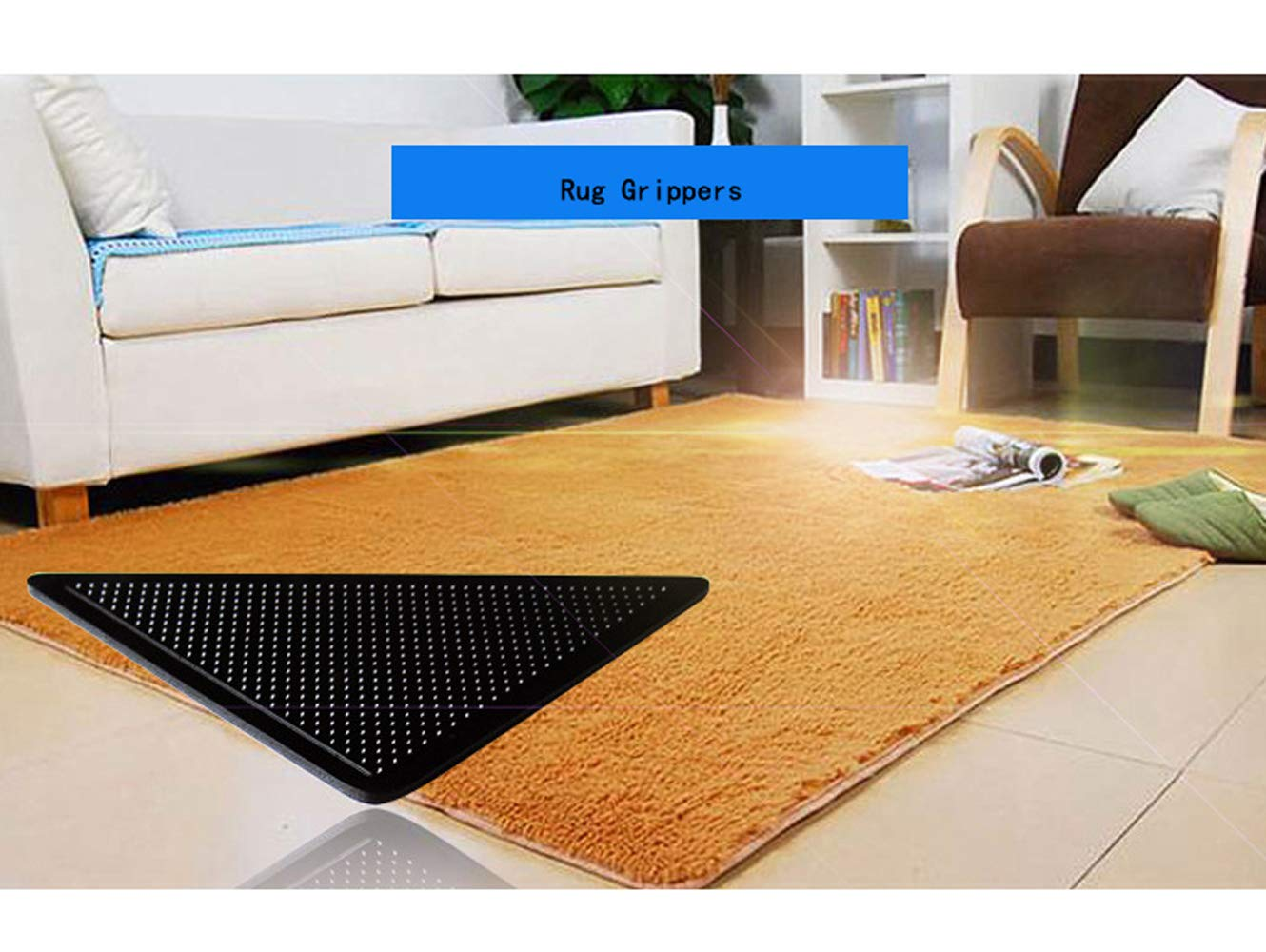 Rug Grippers for Hardwood Floors Carpet Gripper for Area Rug Gripper Pads Non Slip Rug Pad Double Sided Anti Curling Rug Tape Washable and Renewable Carpet Gripper Skid Tape for Tile Floors Mat 8