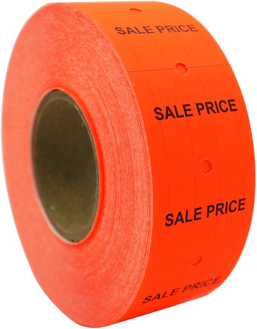 6,000 labels Red//Yellow Sale Price 8 Rolls, 750 Labels//Roll XLPRO II Amram 2 Line Price Labels Towa 2-Line Labelers. X-Mark TXM21-86 Use with AM2800