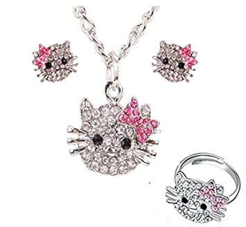 5c48036cf Buy ITS - New Crystal Cat Stud Earrings Rhinestone Hello Kitty Necklace  Earrings Ring Necklace Set Online at Low Prices in India - Amazon.in