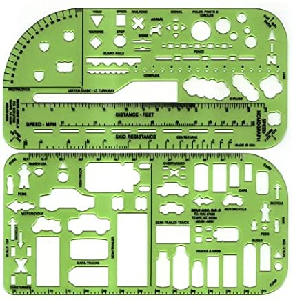 amazon com crime scene traffic drawing template arts crafts sewing