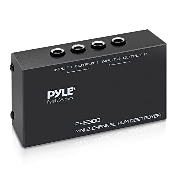 Compact Mini Hum Eliminator Box - 2 Channel Passive Ground Loop Isolator,  Noise Filter, AC Buzz Destroyer, Hum Killer w/ 2 1/4-Inch TRS Input and