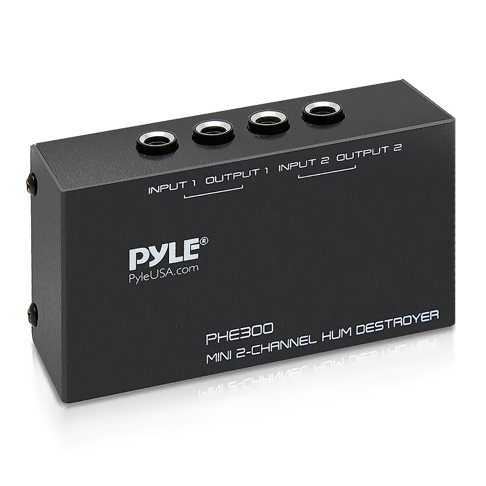Pyle Hum Noise  Filter Eliminator Destroyer Stop Hum Noise with TRS Inputs and Outputs 2-Channel  For Guitar Pedals , Speakers Ac Adapter No More Hum  (PHE300) by Pyle