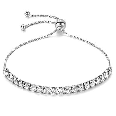 41a3fc4535421 JFée Réglable Bracelet Argent Bracelet avec 5A Zircon Cubique Bijoux Argent  Silver Bracelet Cadeaux d'anniversaire