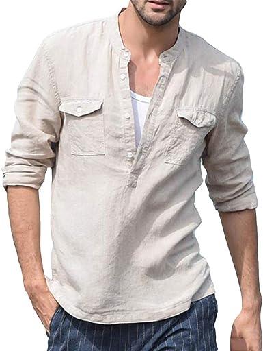 Camisa de Lino para Hombre Cuello Mao Manga Larga Henley T-Shirt Color Sólido Suelta Camisas de Trabajo Verano Camisa de Playa Tops: Amazon.es: Ropa y accesorios