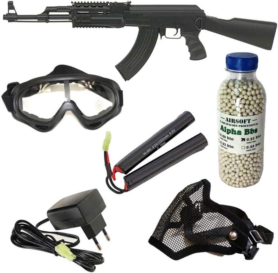 Pack iniciación Fusil Airsoft AK47 tactica Cyma con batería y Cargador + Gafas de protección + máscara de Rejilla + 3000 Bolas 0,25 g