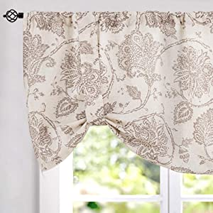 """jinchan Floral Printed Tie-up Valance 1 pc 20"""" Taupe"""