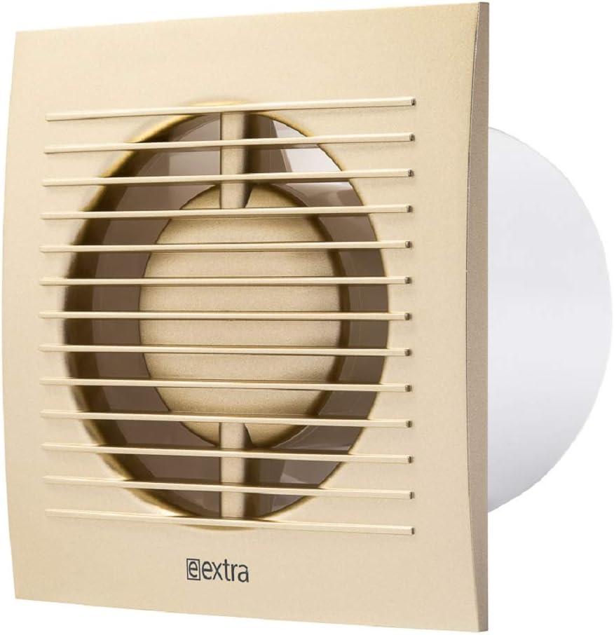 Ventilador de 100 mm de diámetro con temporizador, color dorado, ventilador de pared para baño, baño, cocina, silencioso, para espacios pequeños