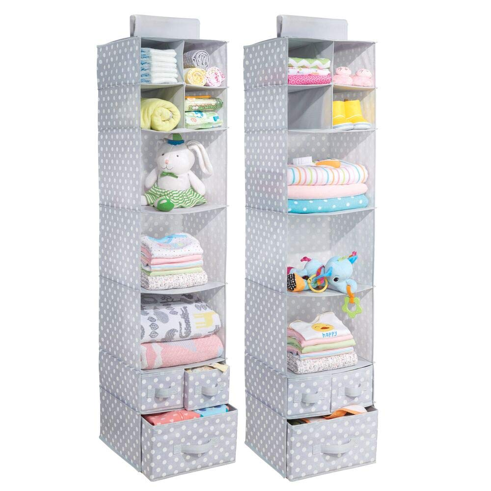 mDesign Soft Fabric Over Closet Rod Hanging Storage Organizer with 7 Shelves and 3 Removable Drawers for Child/Kids Room or Nursery - Polka Dot Pattern - 2 Pack - Light Gray with White Dots by mDesign