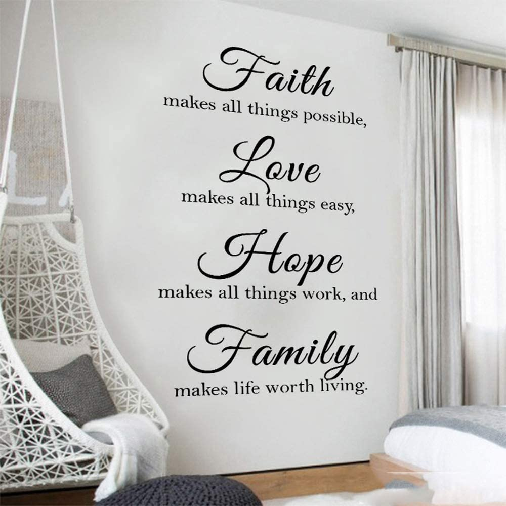 Cedilis 2 Pack Wall Décor Decal, 13''Wx22''L & 22''Wx39''L Faith Hope Love Wall Decal, Quote Wall Decals, Faith Makes All Things Possible, Love Makes All Things Easy, Hope Make All Things Work and Family Makes Life Worth Living
