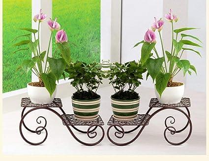 CLLCR Soporte de Flores para Interiores, Estante para Flores, Arte en Hierro Sala de