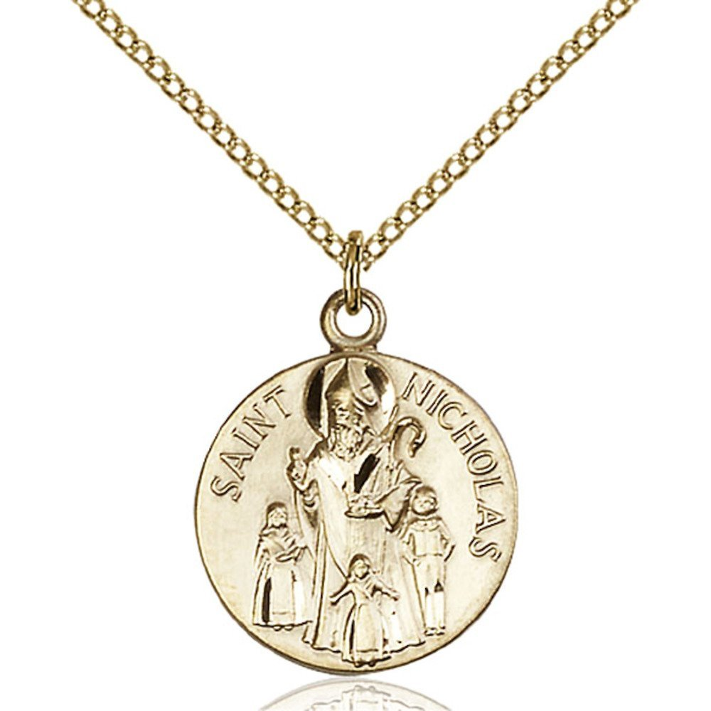 Gold Filled St. Nicholas Pendant 3/4 x 5/8 inches with Gold Filled Lite Curb Chain by Bonyak Jewelry Saint Medal Collection