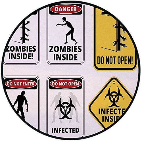 Printing Round Rug,Zombie Decor,Warning Signs for Evil Creatures Paranormal Construction Do Not Open Artwork Mat Non-Slip Soft Entrance Mat Door Floor Rug Area Rug For Chair Living Room,Multicolor by iPrint